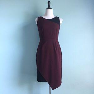 NY&Co. Burgundy & Black Asymmetrical Sheath Dress